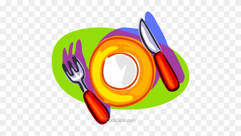 Nice Place Setting Royalty Free Vector Clip Art Illustration - Fork And Knife Plate Clipart #954974