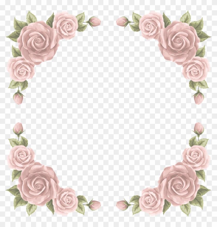 Wedding Invitation Beach Rose Paper - Roses Border Png #955001