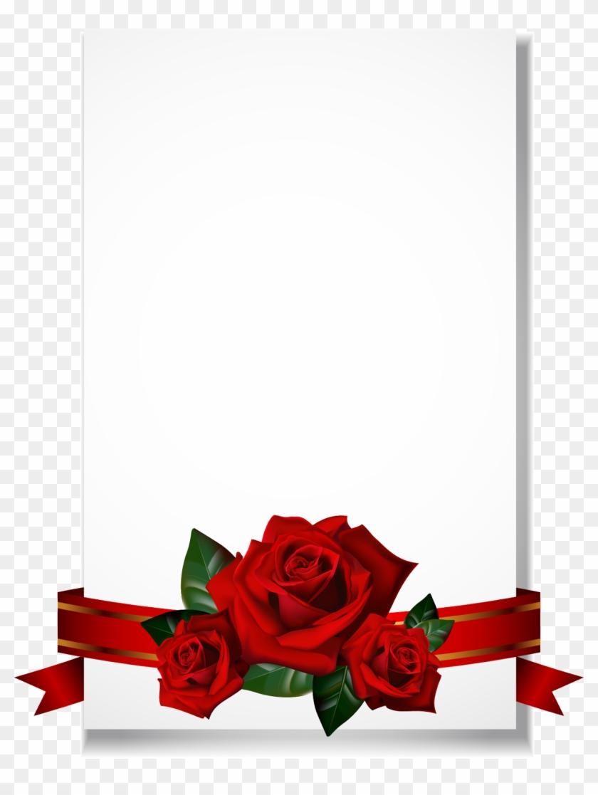 Wedding Invitation Borders And Frames Greeting & Note - Red Roses ...