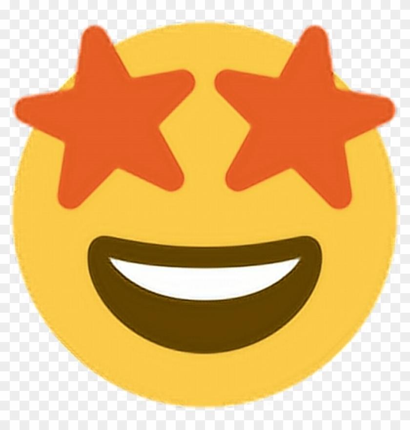 Star Eyes Orange Shape Starryeyed Emoji Emoticon Face - Emoji With Star Eyes #956626