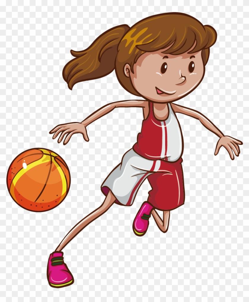 Basketball Stock Photography Illustration - Girl Basketball Illustration #957597