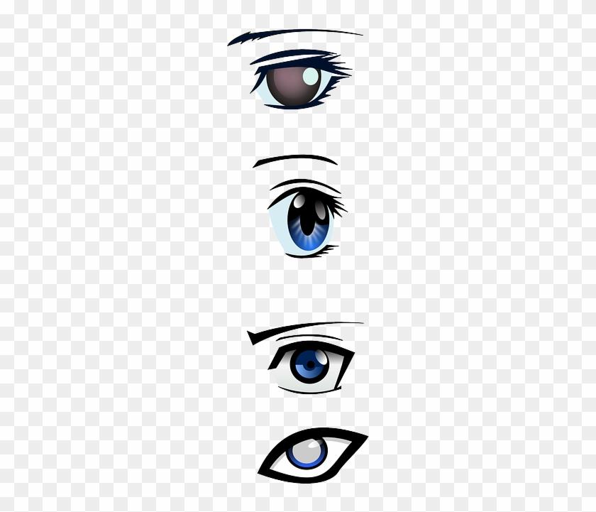 Eyes, Mascara, Looking, Iris, Human, Observe, Eyeballs - Anime Male Eyes Vector #960497