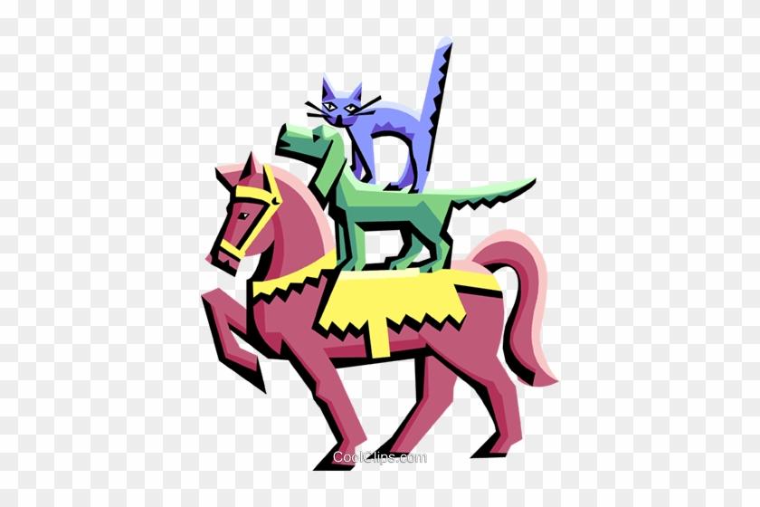 Pferd Mit Hund Und Katze Vektor Clipart Bild Cartoon Free