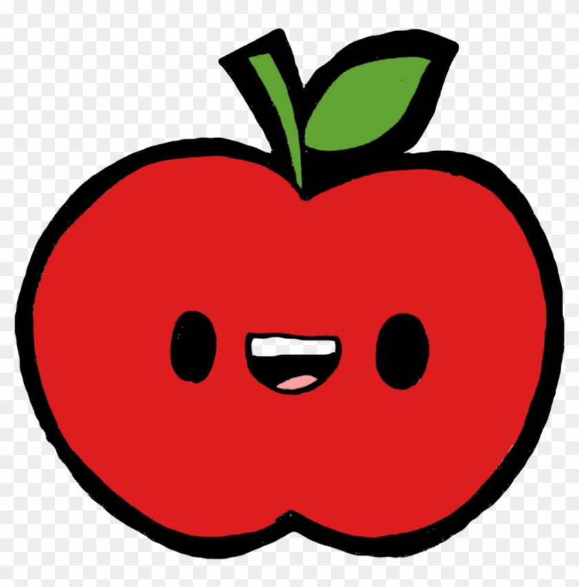Apple Red Green Fruit Tropical Exotic Kawaii Cute Happy - Drawing #962186