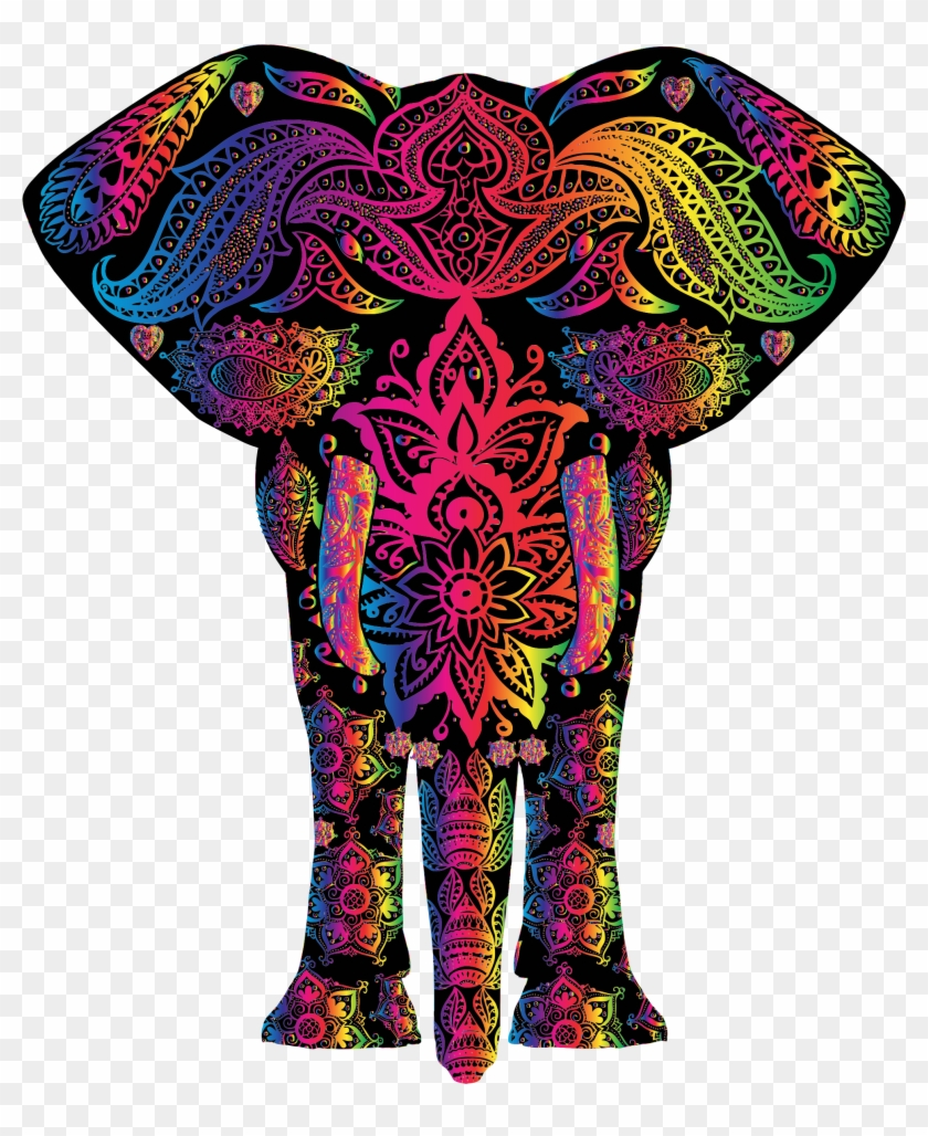 T-shirt African Elephant Indian Elephant Color - Elephant Rainbow #963246