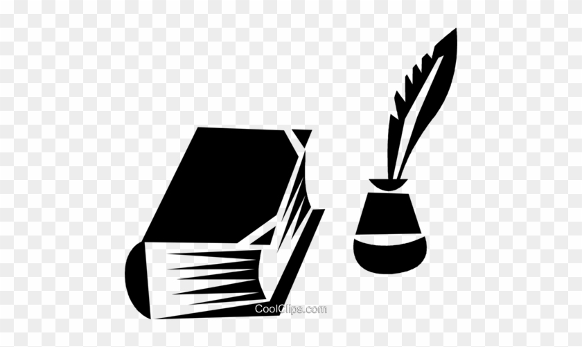 Book An Bottle Of Ink With A Feather Pen Royalty Free - Book And Feather Png #966419