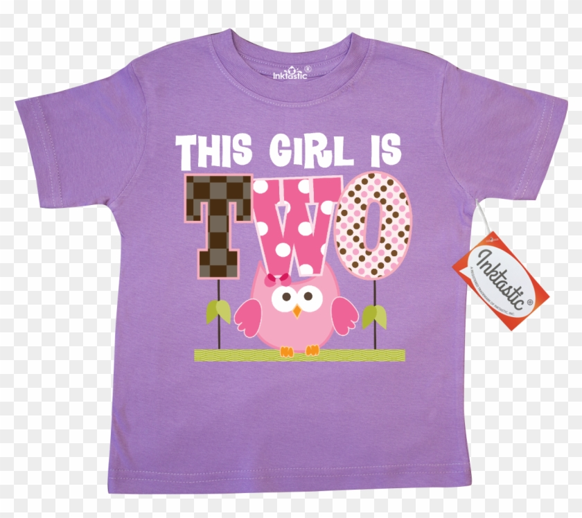 2nd Birthday Girl Owl 2 Year Old Toddler T Shirt Lilac