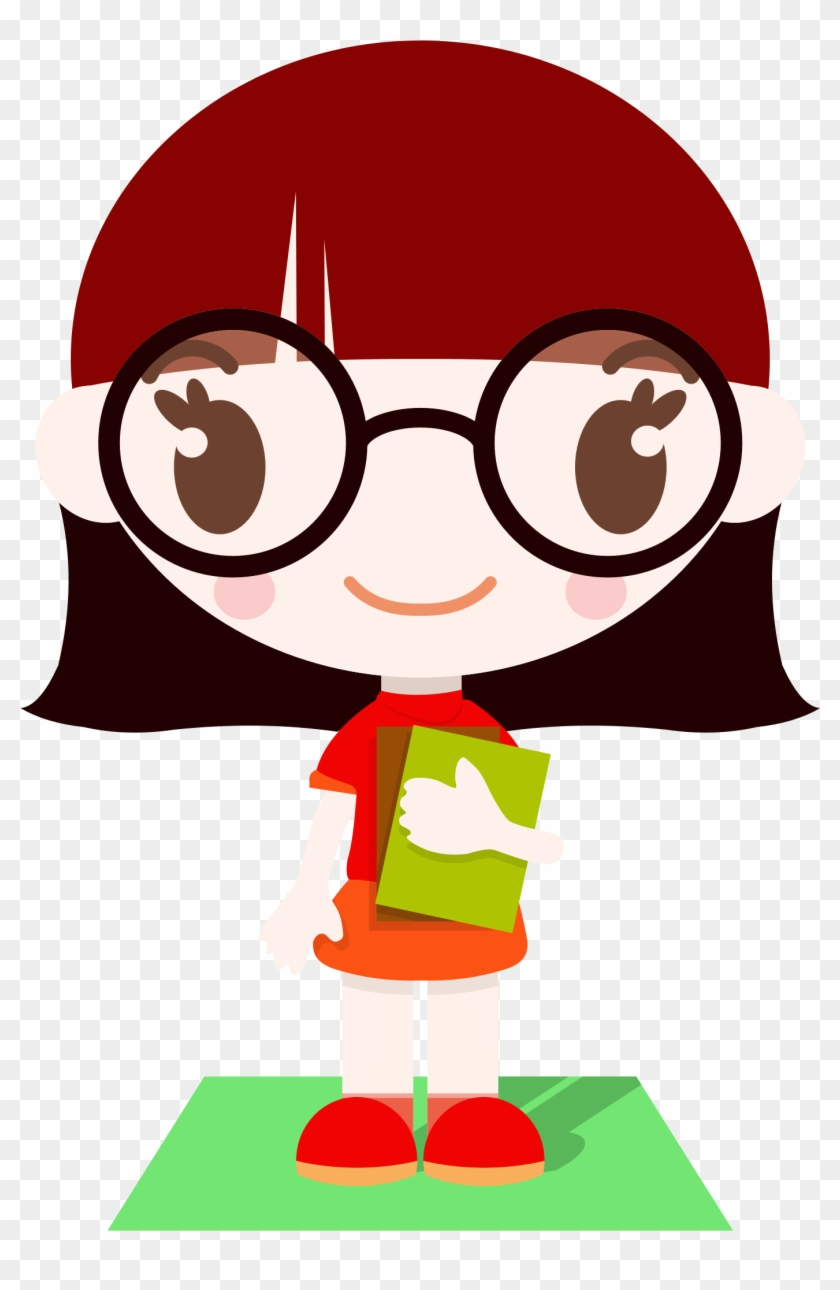 Cute girl clipart anime glasses nerd girl clipart