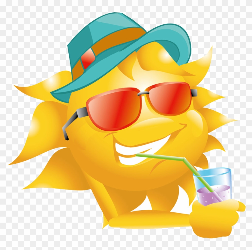 Sun Hat Straw Hat Clip Art - Clipart Of Sun Drinking Juice - Free Transparent PNG Clipart Images Download