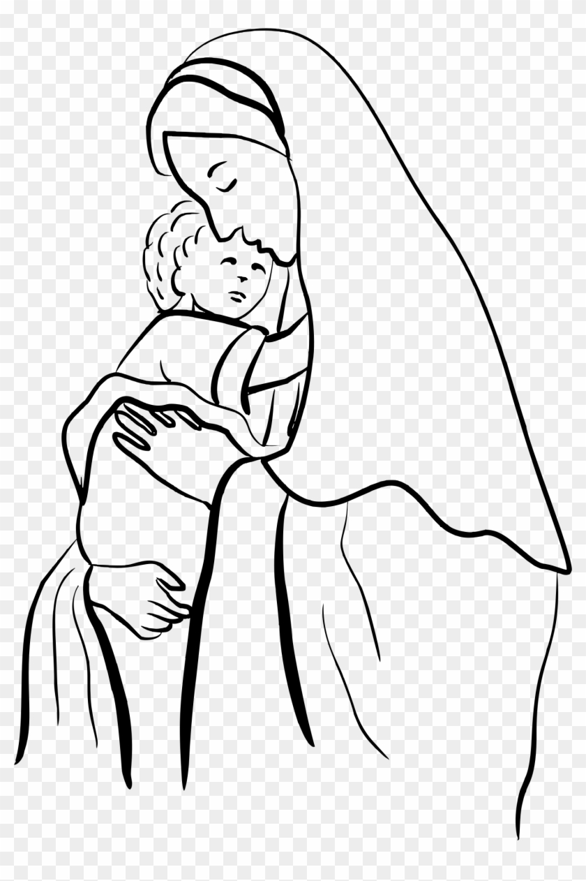 Clipart - Mary And Jesus Coloring Page - Free Transparent PNG ...