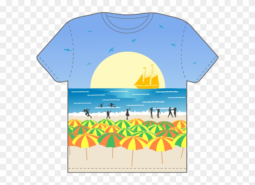 Clip Art Graphic Of A Blue Short Sleeved T Shirt Character Beach Themed