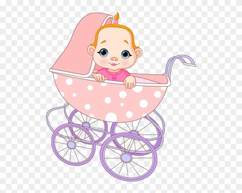 Cute Baby Girl In Baby Carriage - Cute Baby Girl Cartoon #972003