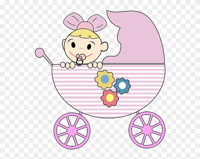 Cute Baby Girl In Baby Carriage - Girl Cartoon Image Baby #972010