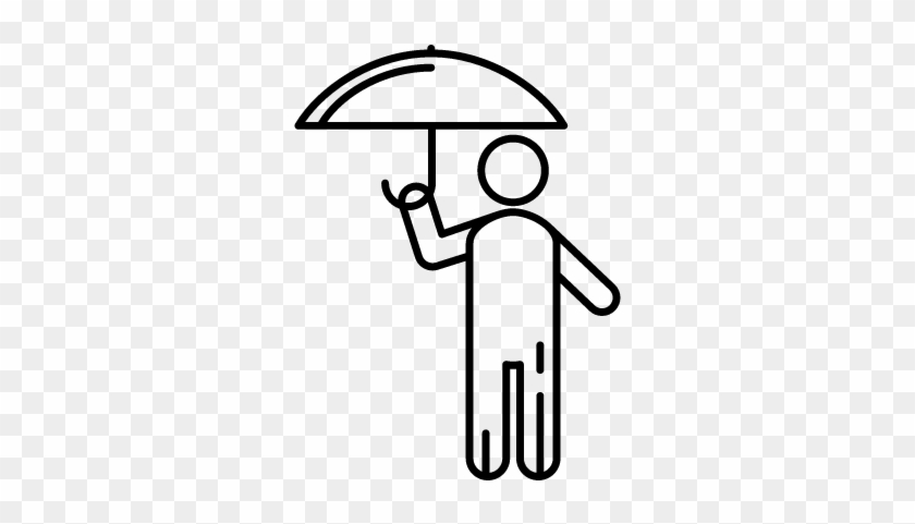 Stick Man With Umbrella Vector - Stick Man Holding Umbrella #972245
