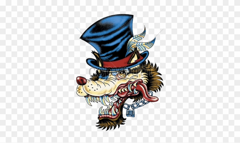 Big Bad Wolf Hip Cool Wild Lone Wolf Top Hat Tattoo Wolfman Chain