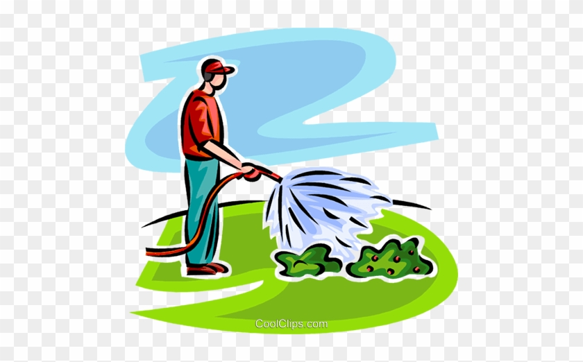 Nice Watering Flowers Clipart Man Watering Plants Royalty - Watering The Garden Clipart #972909