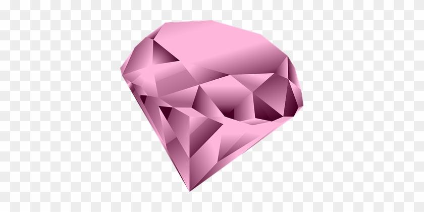 Pink Gem 1 Clip Art At Clker - Clipart Diamond Heart #974032