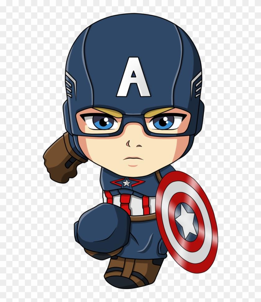 Captain America Iron Man Spider-man Cartoon Chibi - Capitan America Chibi Png #974151