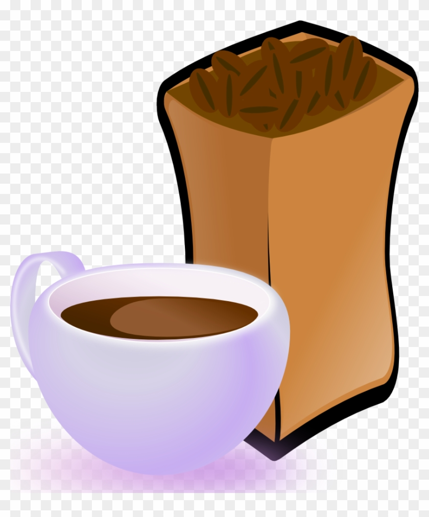 Cup Of Coffee With Sack Of Coffee Beans - Coffee Beans Clip Art #974902