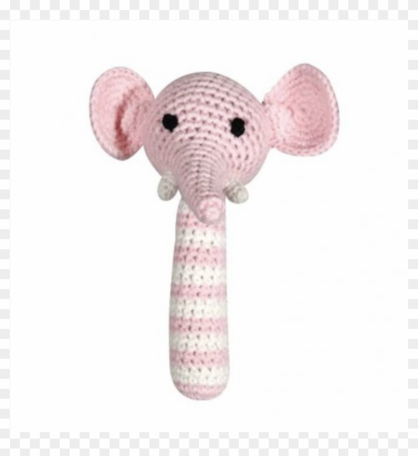 This Hand-crocheted Pink Elephant Baby Rattle Is Hand - Knitted World Rattle - Elephant Pink #975963