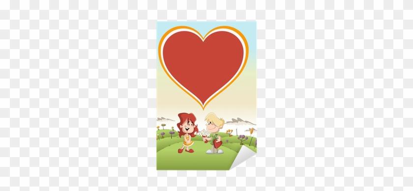 Couple Of Cute Cartoon Kids In Love In The Park Sticker - Beach Boys Miu Album #977340