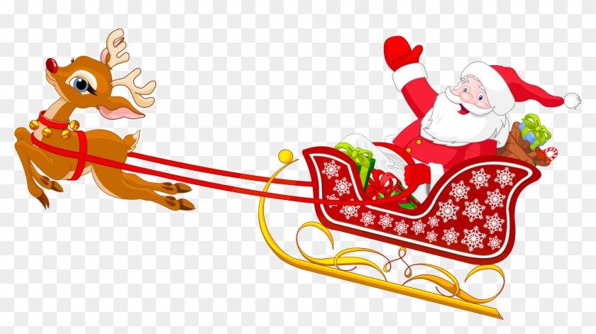 28 Collection Of Santa Sleigh Clipart Free High Quality, - Santa Claus With His Sleigh #979103