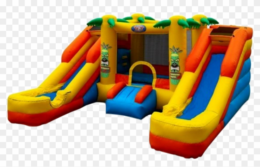 Two Slide Option And Center Fun House - Rainforest Rapids Bounce House #979680