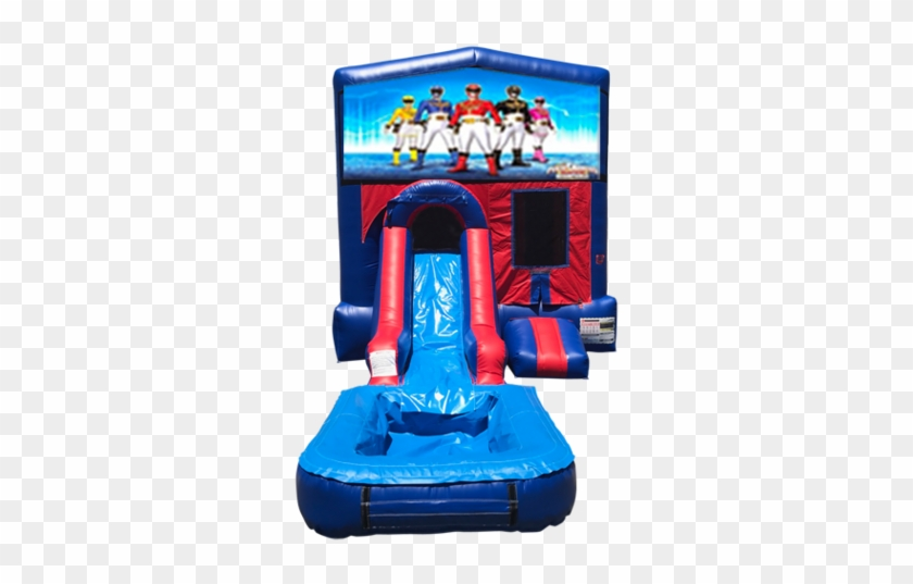 Power Rangers Mini Red & Blue Bounce House Combo W/ - Inflatable Paw Patrol Water Slide #981361