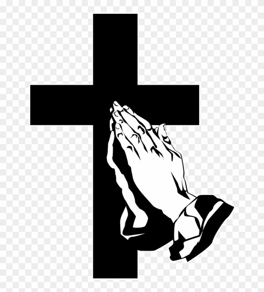 Funeral Clipart Prayer Hand - Cross And Praying Hands #981585