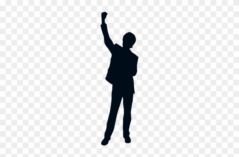 Happy Man Raising Fist Silhouette