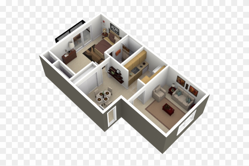 1 Inspirations One Bedroom Apartment Floor Plans 3d House Free Transparent Png Clipart Images Download