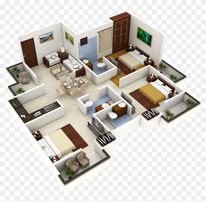 Unique Plan 3d Plans For Houses Full Size 3 Bedroom House Design