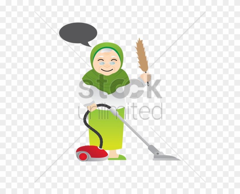 Muslim Woman With Vacuum Cleaner Vector Image - Cleaner Muslimah Cartoon #986989