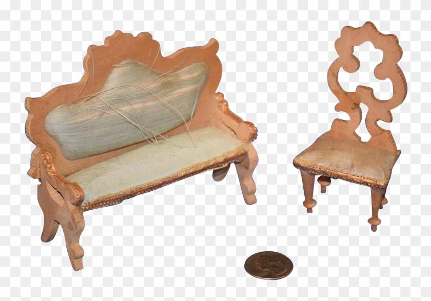 Old Doll Miniature Sofa Chair Settee Fancy Dollhouse - Chair #987220