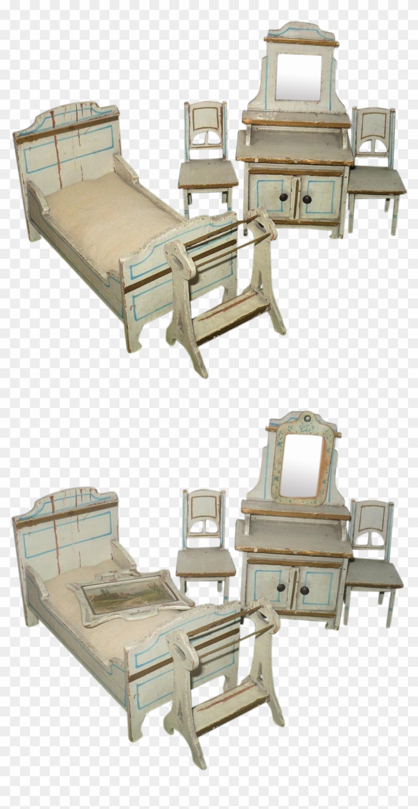 7 Pieces Art Nouveau German Cream Painted Wood Doll - Barber Chair #987287