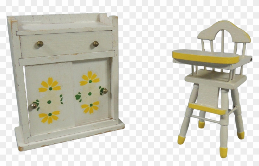 1940 1950 Painted Wood Doll House Baby High Chair High Chair