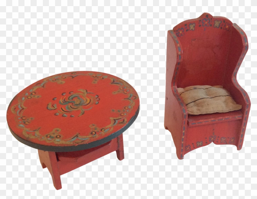 2 Painted Wood Antique Dollhouse Doll Furniture Chair Coffee Table