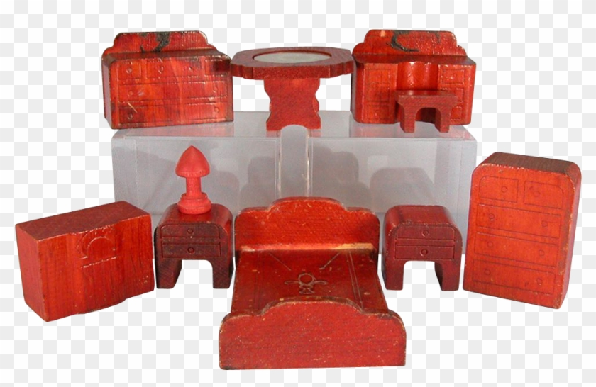 10 Pieces Of Nancy Forbes Wooden Dollhouse Furniture - Wooden Block #987346