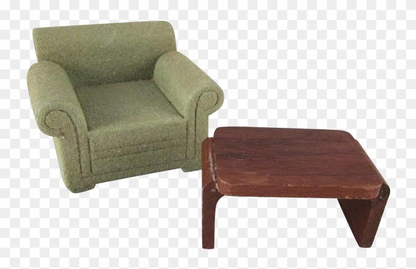 Strombecker 3/4 Green Flocked Club Chair And Walnut - Club Chair #987351