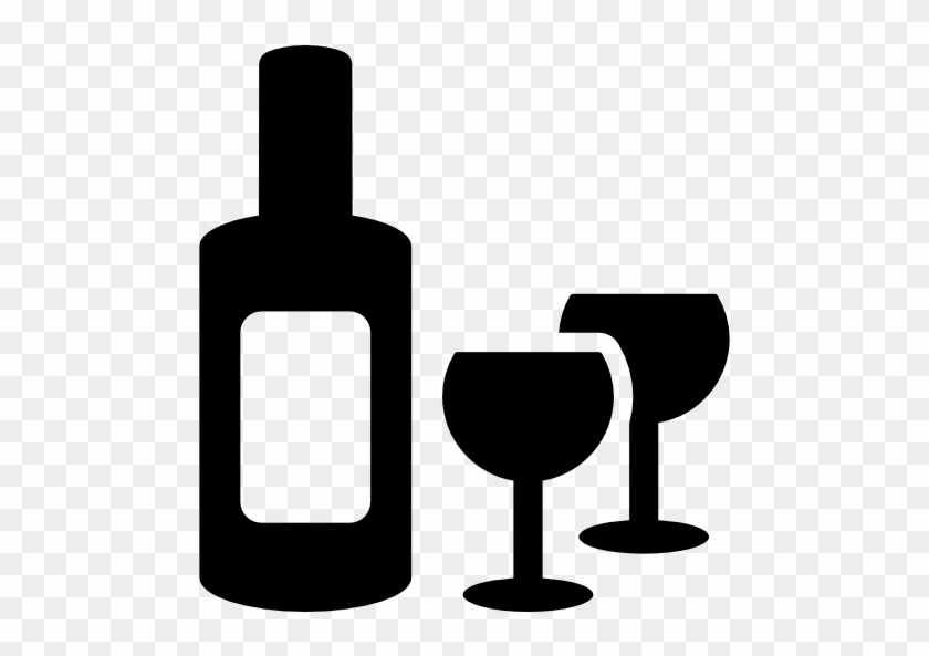 Bottle And Two Glasses Free Icon - Icon Botle Drink Wine #989204