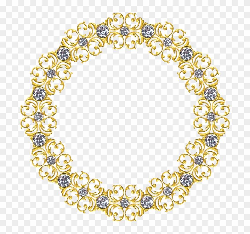 Gold, Frame, Round, Border, Decoration, Ornate, Antique - Gold Circle Frame Png #989805