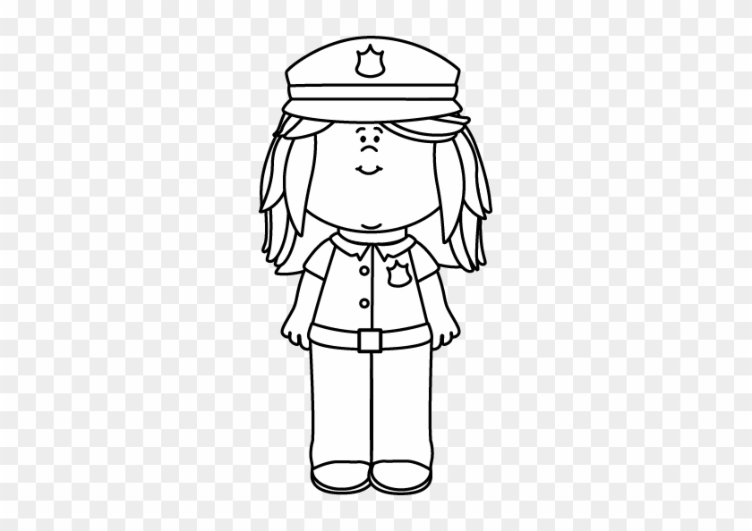 Black And White Girl Police Officer - Police Officer Girl Black And White #991707
