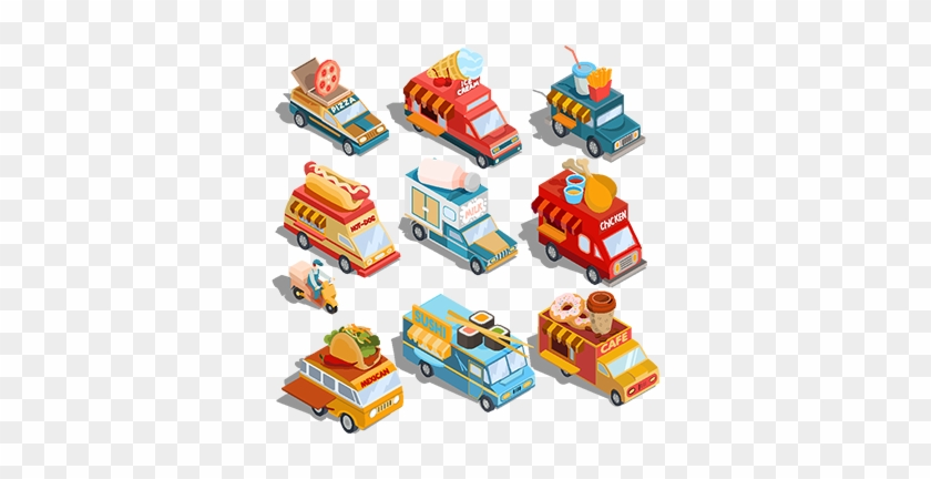 Isometric Illustrations Of Cars Fast Delivery Of Food - Food Truck Paper Toy Car #994263