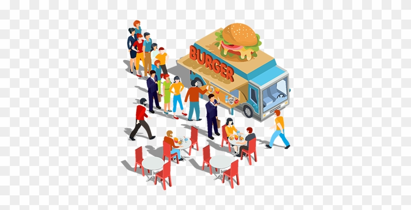 Vector Isometric Illustration People Order And Buy - Fast Food Street Eating Clip Art #994272
