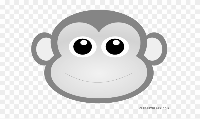 Baby Boy Monkey Animal Free Black White Clipart Images - Cute Monkey Face Clipart #994394