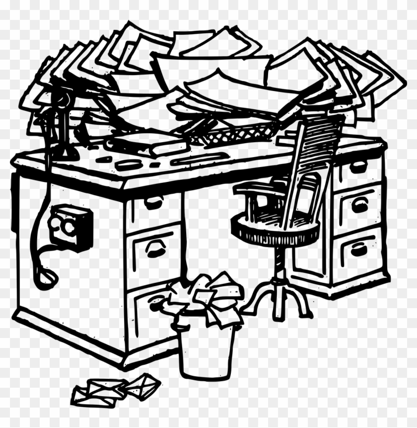 It Starts With A Simple Stack Of Mail, A Few Receipts - Messy Desk Clipart Black And White #174175