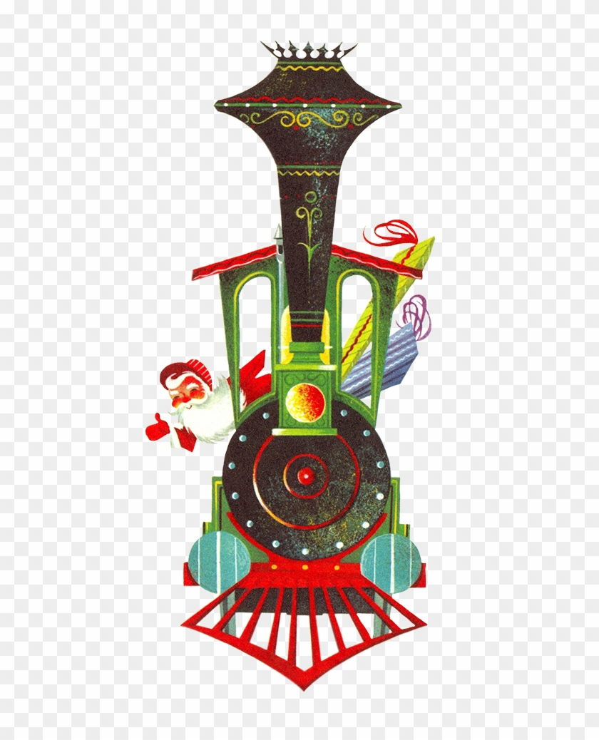 Vintage Graphic Of Christmas Train - Christmas Card - Free ...