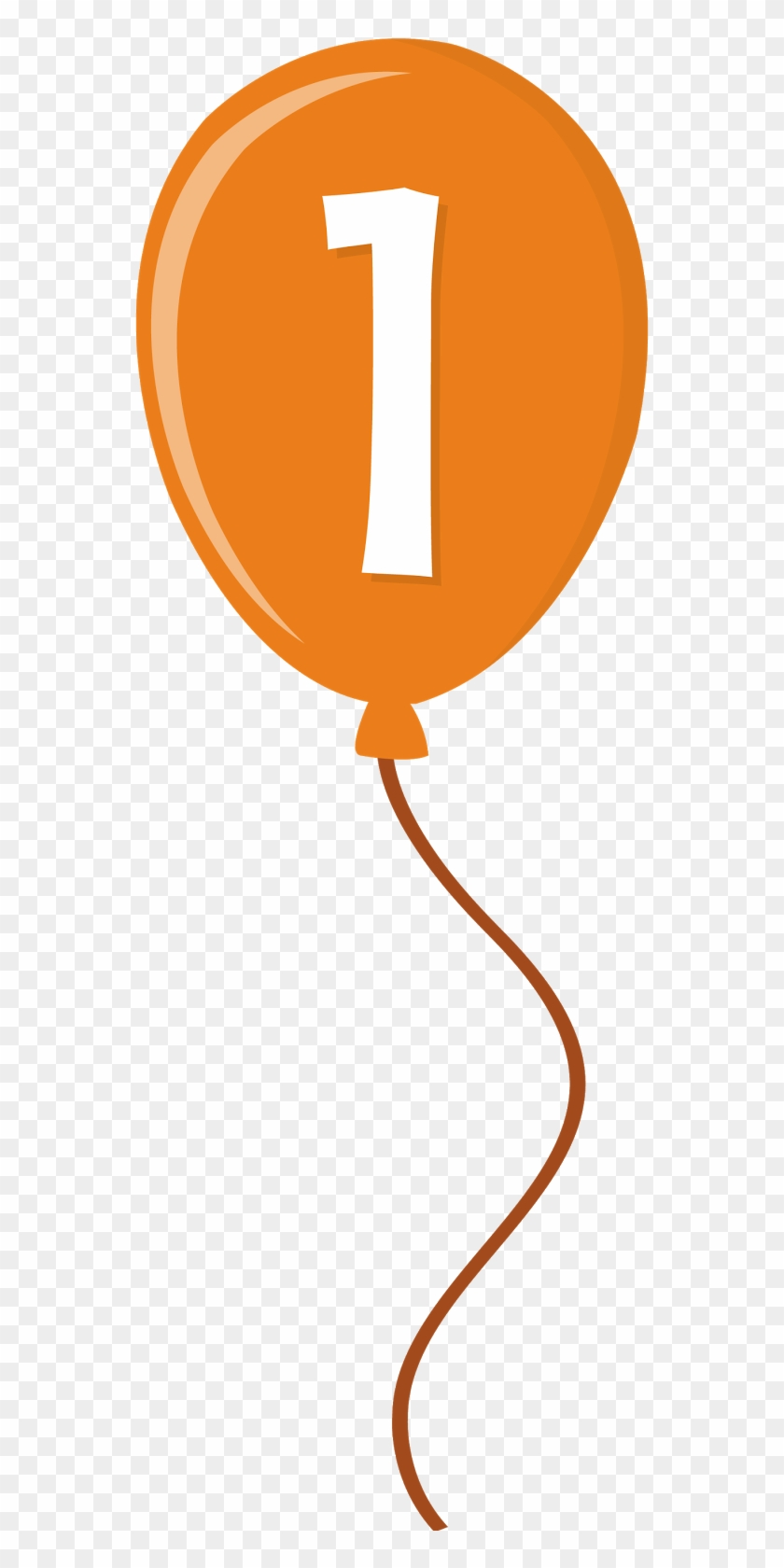 Orange Clipart Baloon - Balloon With Number 1 Clipart #175275