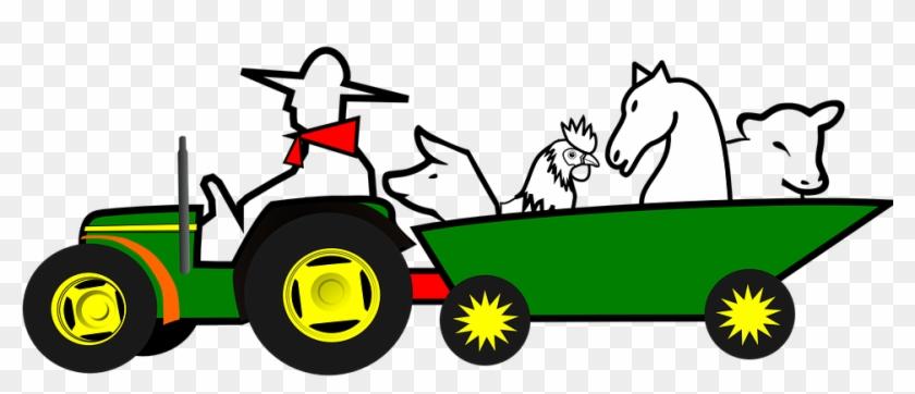 Farmer, Animals, Car, Farm, Green, Horse - Moving Tractor Animation #175782