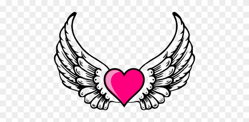 Female Angels With Wings Angel Halo Clip Art - Draw A Heart With Wings #175820